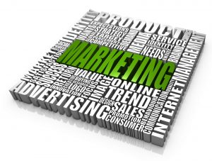 """Marketing-related words forming a square block of text with the word """"Marketing"""" in the middle."""